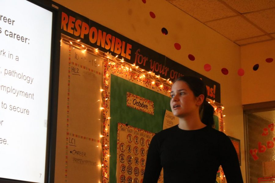 During her Lit and Comp class, Freshman Marisa Martin discusses a career she's interested in.