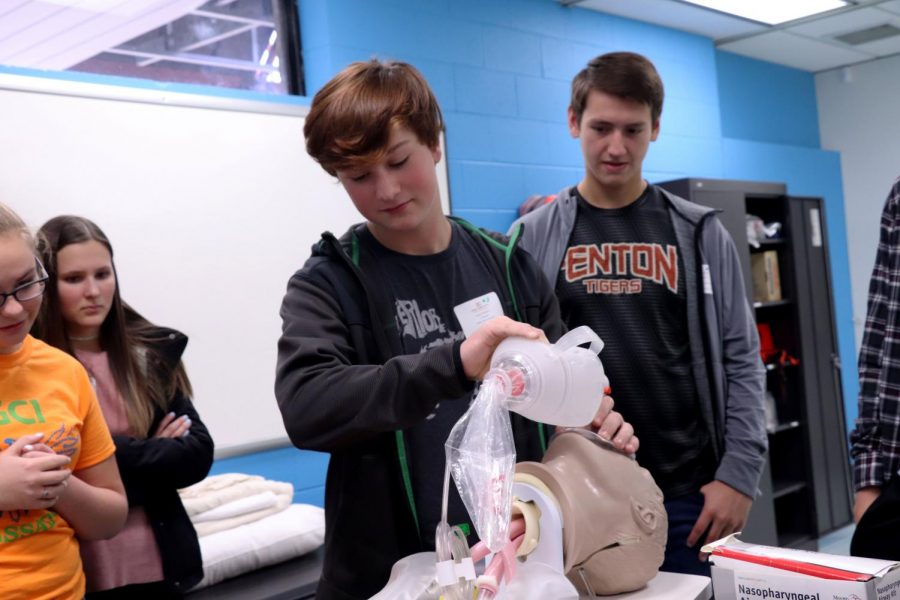 Sophomore Lucas Shelton learns how to help a patient in a preview of the emergency medical foundation class at Genesee Career Institute. Sophomores of Fenton high school went on a field trip to GCI to explore different programs they might be interested in.