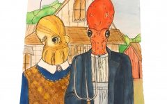 Senior Amanda Jackson's art rendition of the American Gothic painting.