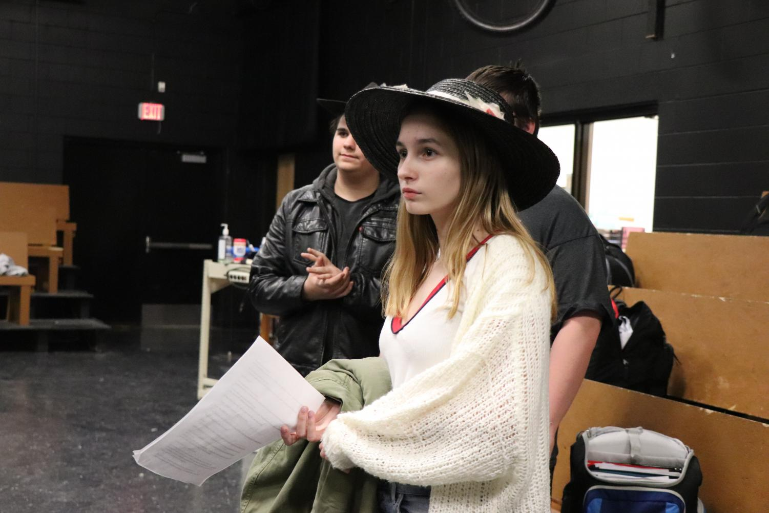 Sophomore Emily Hamlin practices for her drama exam. Drama students had an on-stage acting portion of their exam.