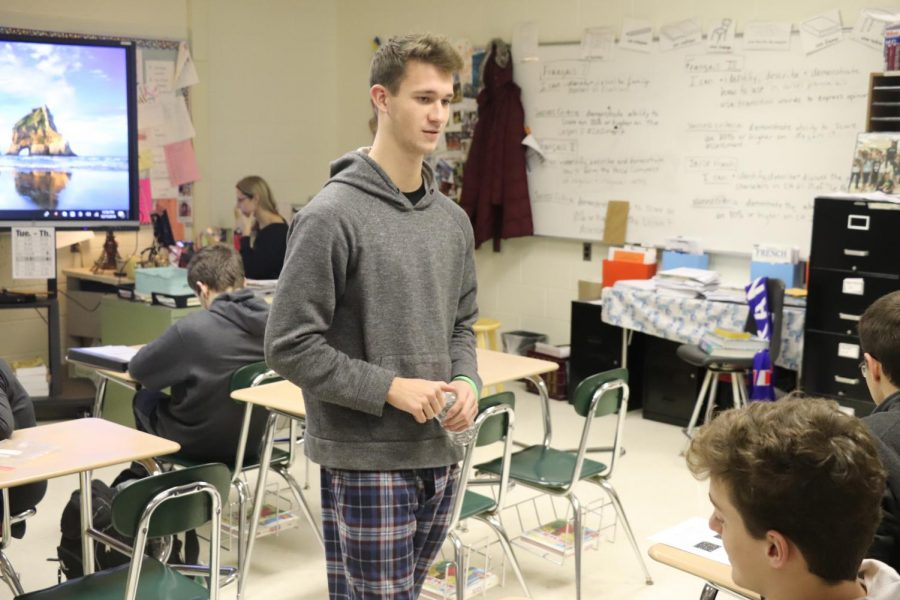 With Christmas around the corner, junior Thomas Lockwood expresses his Christmas spirit wearing pajamas for spirit week. Christmas spirit week gives the opportunity for students to show their Christmas spirit in different ways.