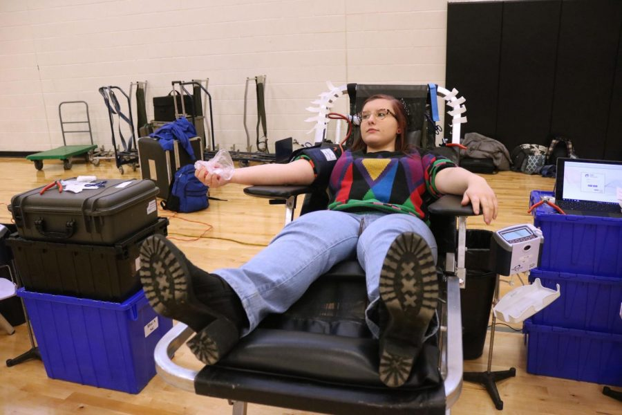 Junior Lillian Thompson waits patiently to get her blood drawn. On Jan. 10, students 16 or older had the opportunity to donate blood.