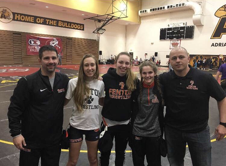 Posing for a photo (from left) assistant coach Dominic Adams, sophomore Ella Turnblom, senior Chloe Wagner, sophomore Kendra Ryan and coach Brad Beverly at the state championship.