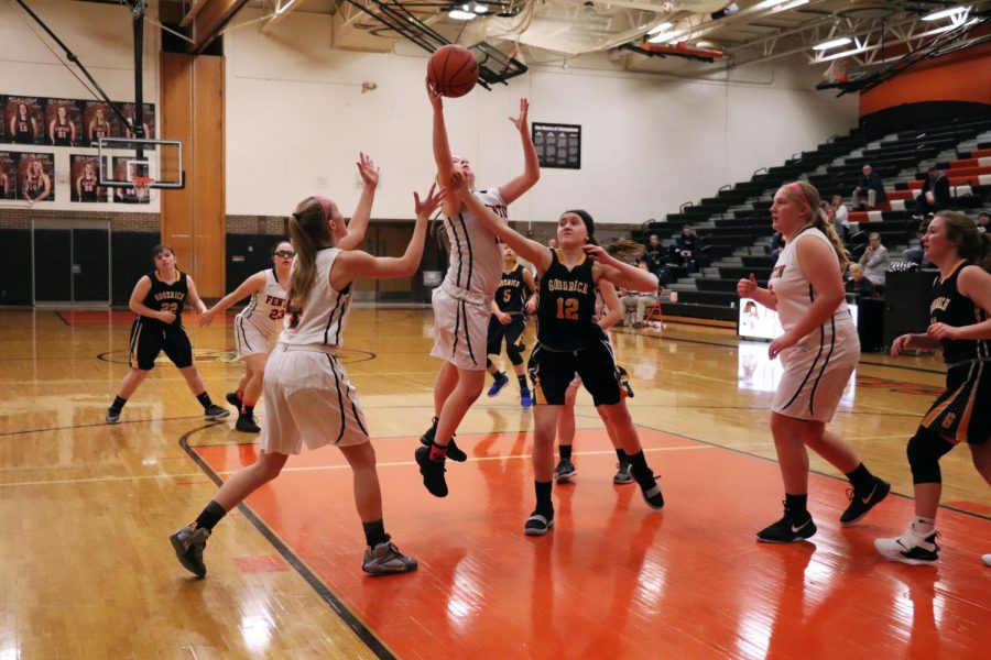 Tension builds up at the start of the game Fenton vs Goodrich. Sophomore Kaytlyn Couch didn't make the shot against Goodrich on Feb. 19.