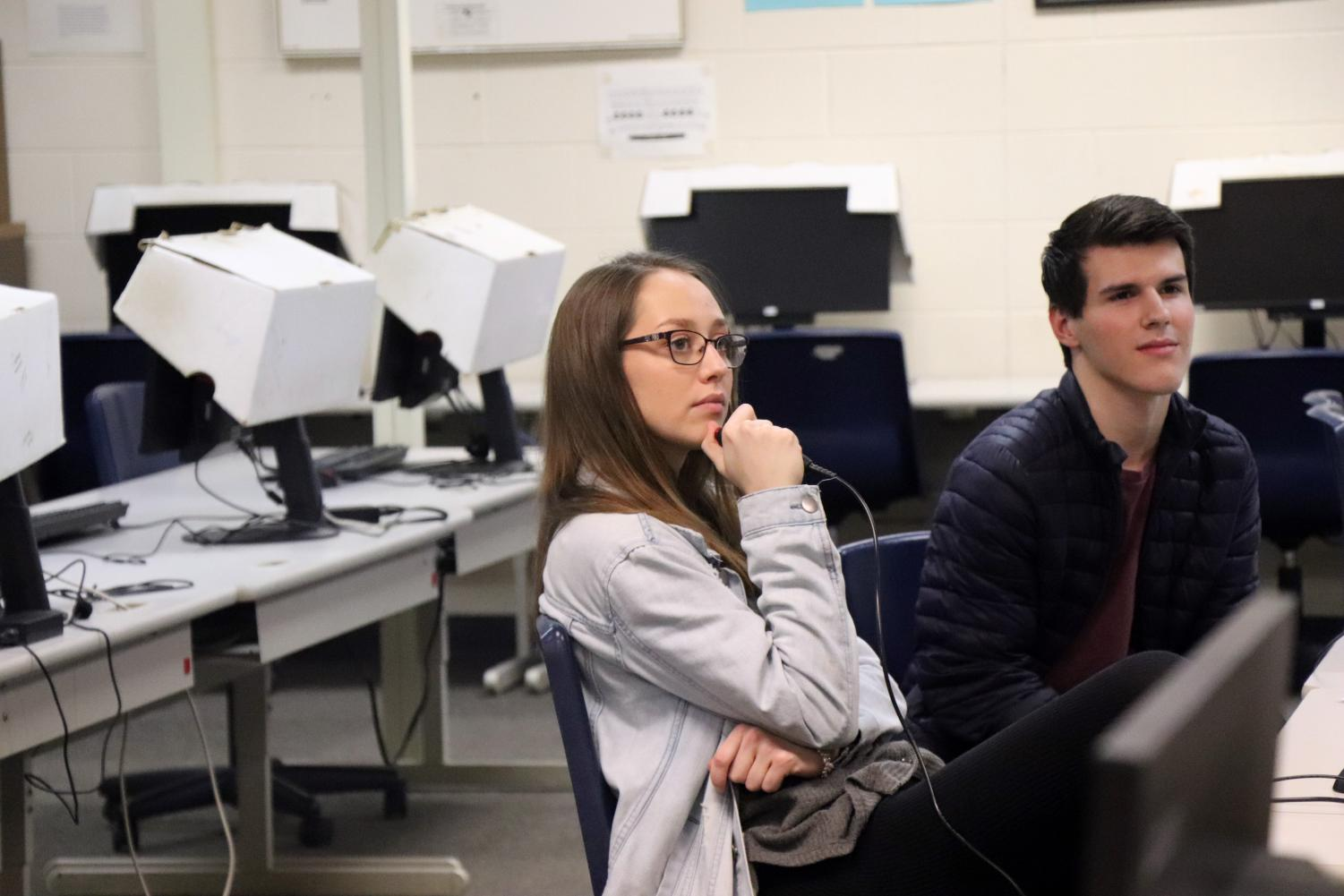 Prepping for their upcoming competition, senior Amelia West, waits to buzz in her answer during their practice. Students in teacher Bruce Burwitz's classes were given the chance to be on the 'Lifesmarts' team which will compete in Florida.