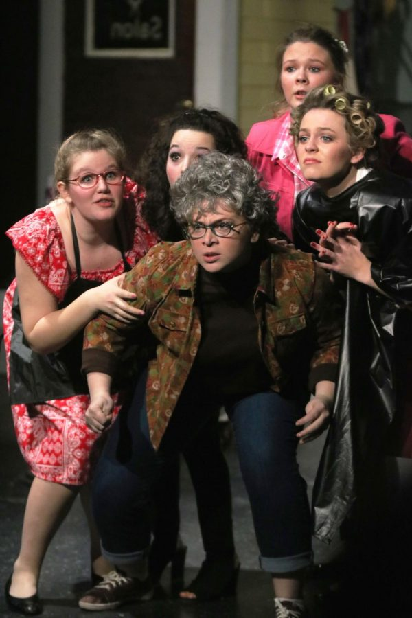 After hearing gun shots and dogs barking the IB Theatre's Steel Magnolias's cast is scared. IB theatre performed on March 8-10.