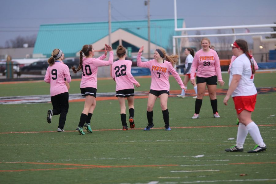 After scoring a goal, sophomore Andrea Elsholz high fives her teammates. The girls junior varsity soccer team played against Swartz Creek on April 2 and won with a score of 7-0.
