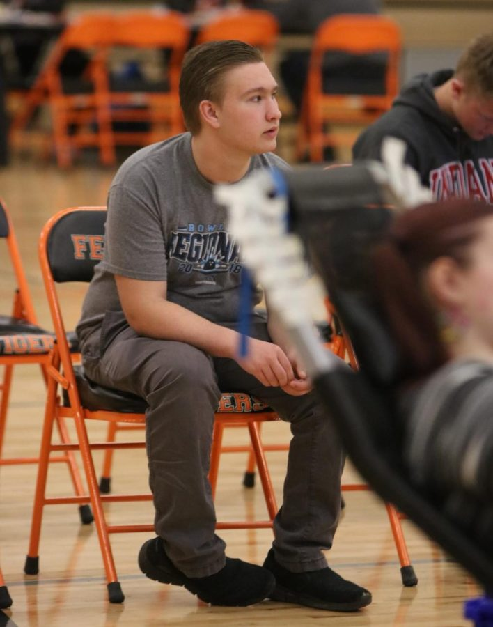 While+participating+in+the+blood+drive%2C+sophomore+Tate+Temrowski+waits+for+his+name+to+be+called.+On+March+21%2C+Michigan+Blood+hosted+a+blood+drive+at+Fenton+High.