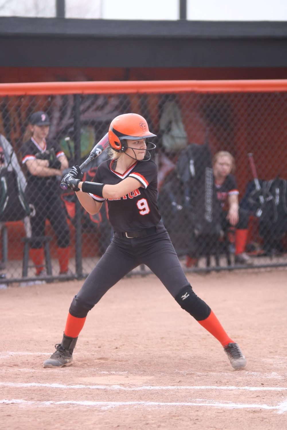 In the beginning of an inning, freshman Jordyn Bommersbach gets ready to bat. The JV softball team played against Swartz Creek on April 25.
