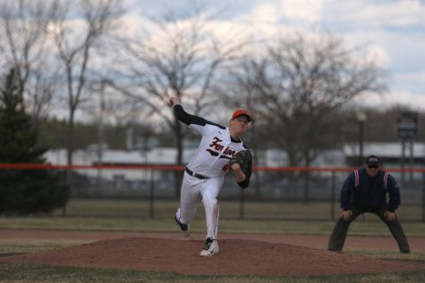 While on the mound sophomore Brendan Alvord pitches the ball. The varsity baseball team's next game is on May 9 against Holly.