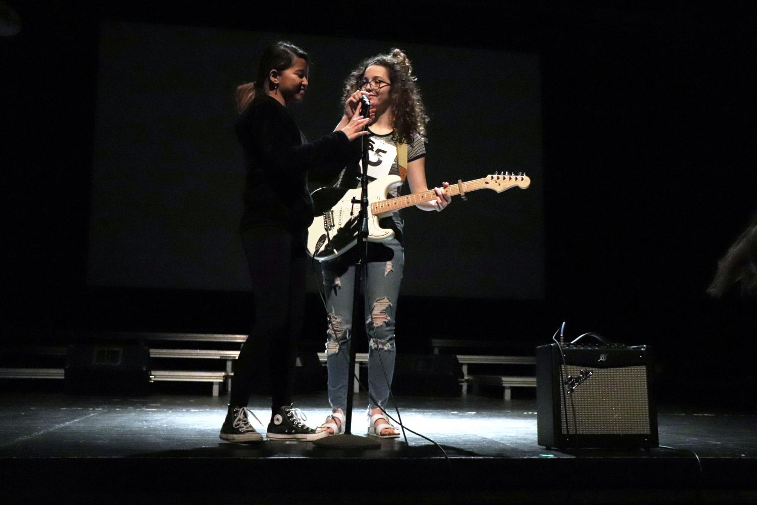 Mr/Mrs Fenton contest goes to the next act as the stage-crew sets up the stage. Senior Mackenzie Cassar (contestant 5) sang Make you feel my love by Bob Dylan and commemorated the performance to her parents' 19th anniversary.