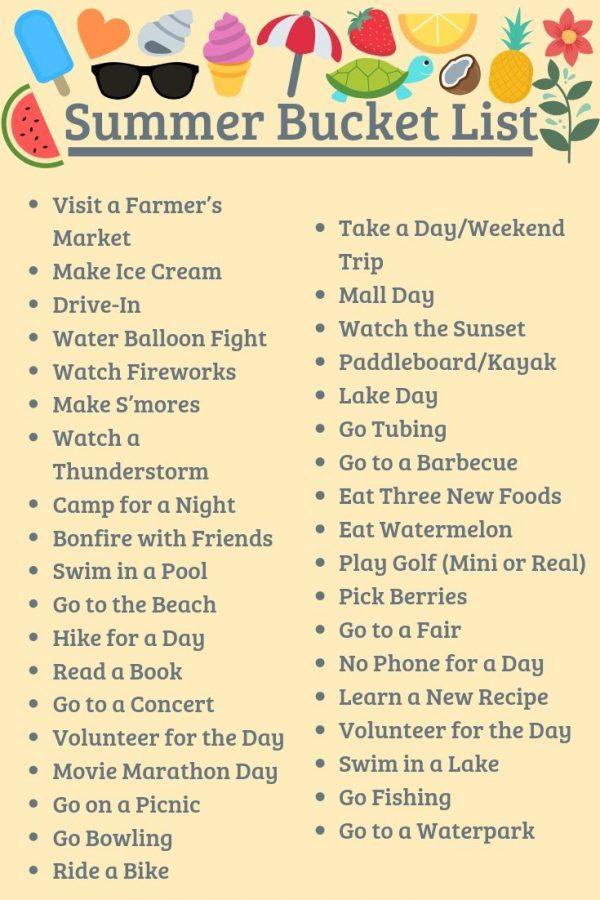 Summer bucket list for no boring days