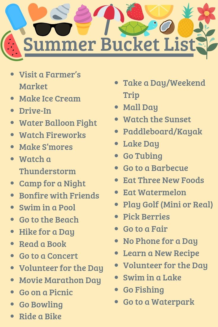 Bucket List Ideas For Summer 2020 Summer bucket list for no boring days | Fenton InPrint Online