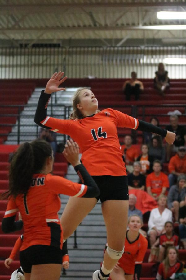 To stop the Linden Eagle's from scoring a point, junior Sydney Sahr leaps in the air and blocks the ball. After Sahr blocked the ball, her team celebrated with many different chants.