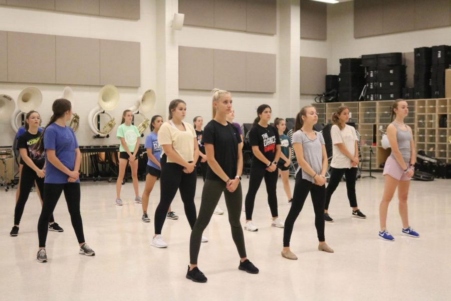 The Fenton Dance team is practicing their hip hop routine. On Sept. 25 they met in the band room for practice.