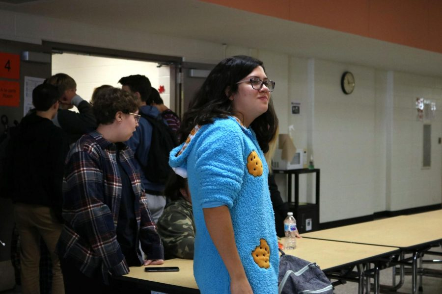 Sophomore Maria Valencia is at lunch. She participated in PJ Day as the cookie monster on Oct. 7.