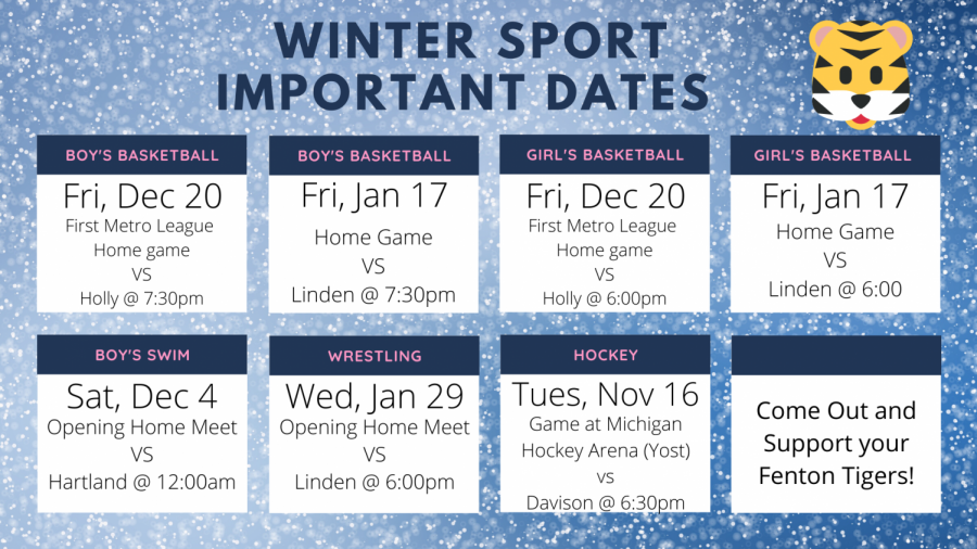 Save these dates to be sure not to miss important games.