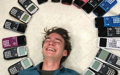 """The idea for the picture came from the fall theme of playing in the leaves,"" sophomore Chase Gibson said, ""so we tried to make it look like I was playing in the calculators."""