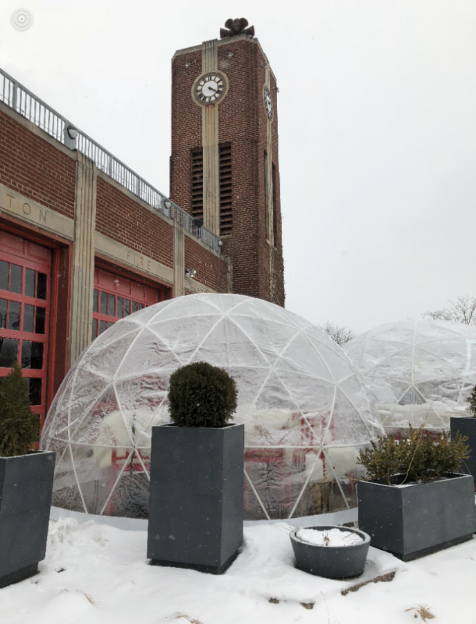 Pictured above are the glass igloos available for dining in at the Fenton Fire Hall in downtown Fenton.