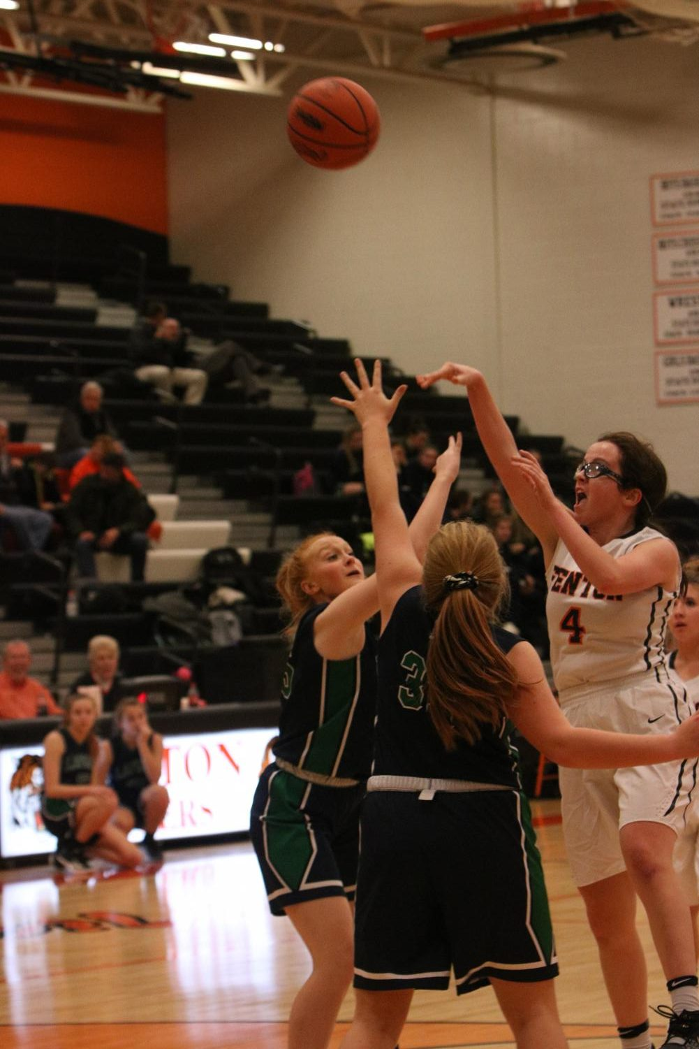 Shooting the basketball, sophomore Lauren Gangwer attempts to score. The JV team played Lapeer on Dec. 3.
