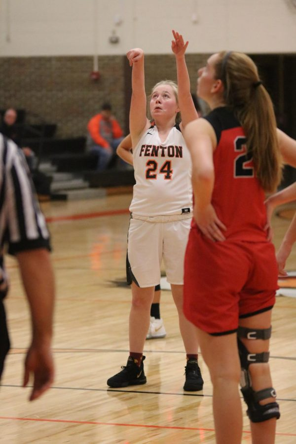 After being fouled, by an opponent, junior Kaytlyn Couch shoots a free throw. The girls varsity basketball team beat the Linden Eagles on Jan. 17.