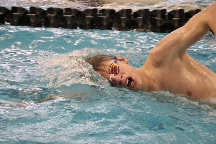 Practicing his strokes, sophomore Steven Keiser swims freestyle. The boys' Swim has an upcoming meet on Feb. 7 against Flint Kearsley
