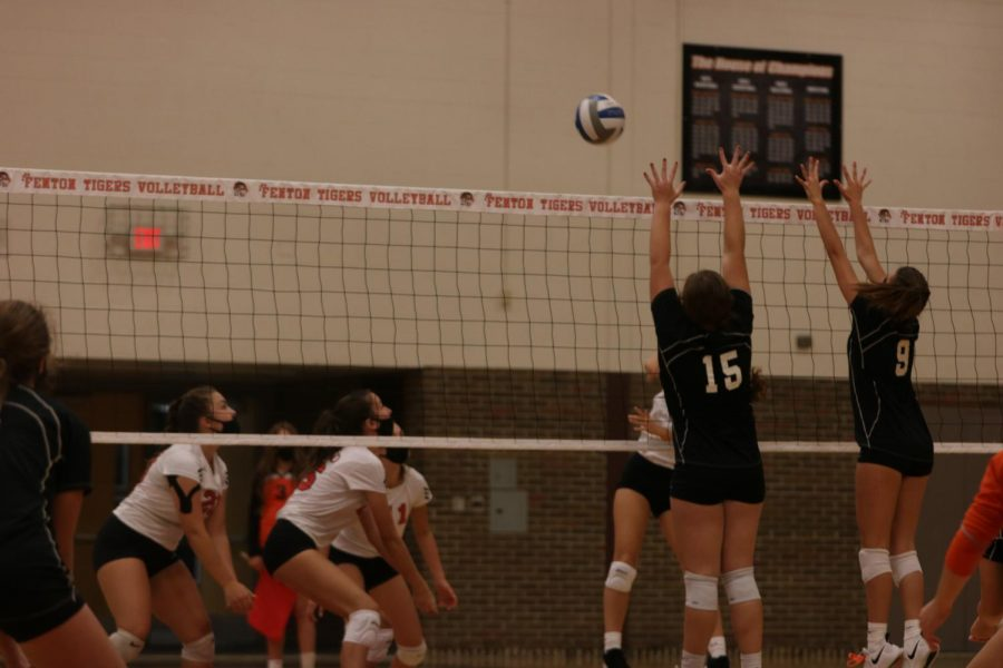 Photo taken on 10/7. Sophomores Erin Mcvey and Lilly Pihlstrom on the block.