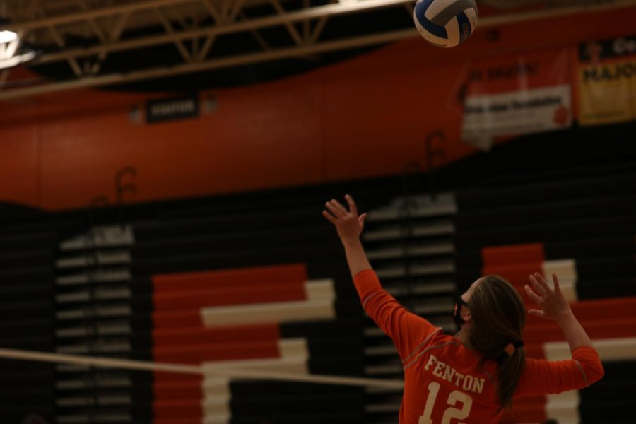 Freshman Allie Mowery serving it up for the Lady Tigers. JV won 2 out of their 3 games in their quad on Oct. 3.
