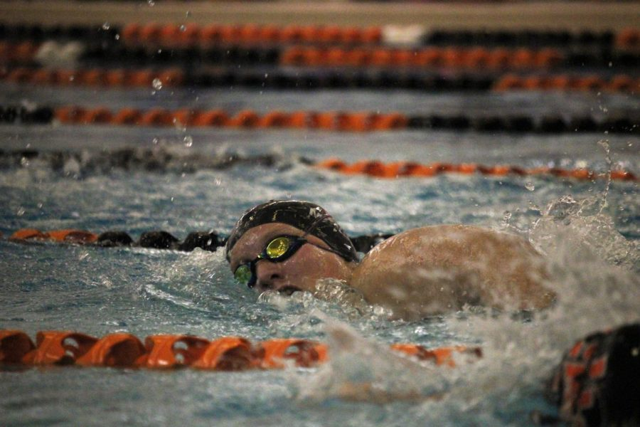 Senior Jillian Mcvey races against opponents from Brandon. On Oct. 15, the Tigers defeated the Blackhawks 148-26.
