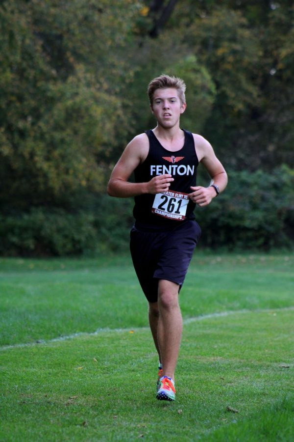 Sophomore Caleb Markley runs at Mt.Morris on 10/10.