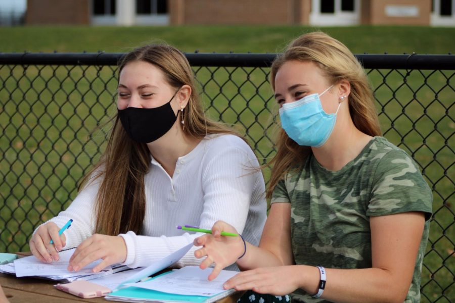 Sophomores%2C+Tammy+Craven+and+April+Carr+are+talking+to+there+classmates+during+biology+class.+They+were+outside+working+on+molecules+and+biomolecules+worksheet+enjoying+the+nice+weather+while+it+lasts.+