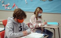 Sophomore's Xander Gilbert and Tammy Craven work on their biology assignment. These students are hard workers.