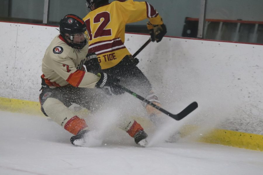 Senior Dominic Loria skates around to steal the puck. On Feb. 21, the varsity hockey team played Dexter at home.