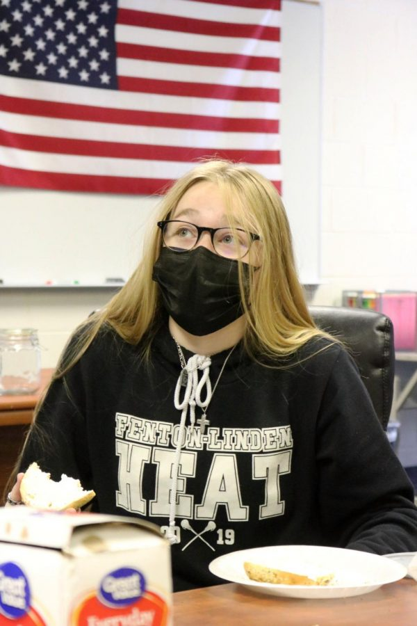 On Fridays Mr.Burwitz VEI class gets suprised by Big apple Bagels for a snack during a hard class of work. Senior Kaytlyn Couch enjoys a bagels she is also the CEO of the class