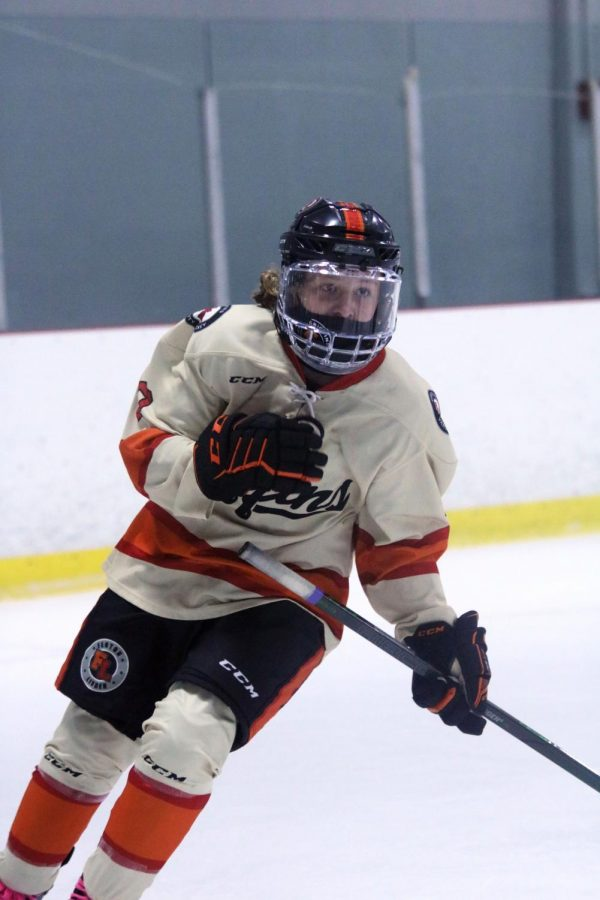 During the Griffins first game of the year against Oxford sophomore Jace Dumeah waits for his teammates to make a pass. Fenton-Linden Griffins lost this game 3-4 on Feb 10th.