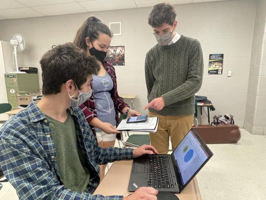 Seniors Aaron Toth and Joseph Henley show Junior Samantha Megdanoff the layout for the Economics Club poster. On March 10, the Economics Club met to discuss and design the new poster to advertise the club to students.