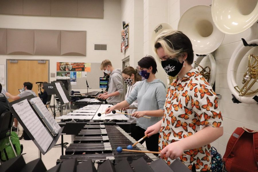 Freshman Moira Dunlop plays the xylaphone in band practice. On March 24, trhe band practices peices they will be playing in a recording they will be sending to Disney World.