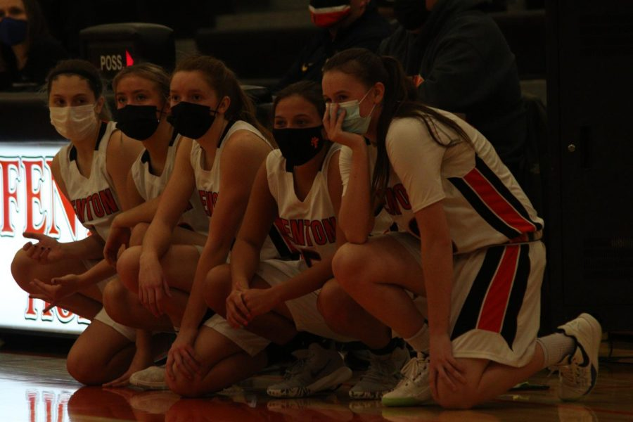 Fentons freshman basketball team gets ready to sub in during their game against Rochester. Fentons girls ended up winning on Feb. 25 on their home court.