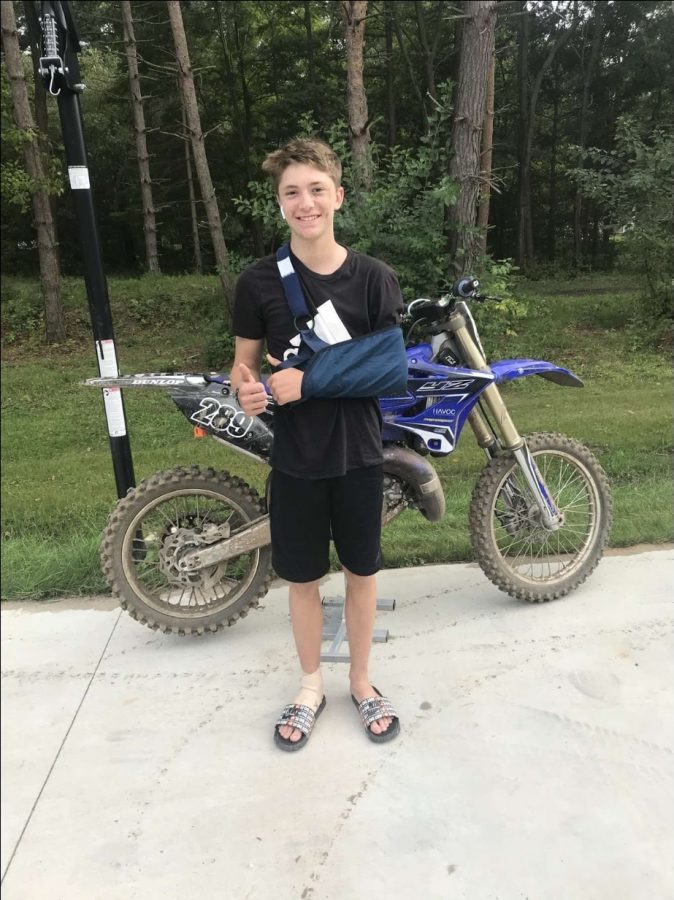 """""""This year I'm enrolled in TVA and this has given me a lot more time to do things like snowboard, ride dirtbikes and work on cars with my dad. TVA isn't easy but being honest I would like to come back to face to face."""" - freshman Caiden Alsbach"""