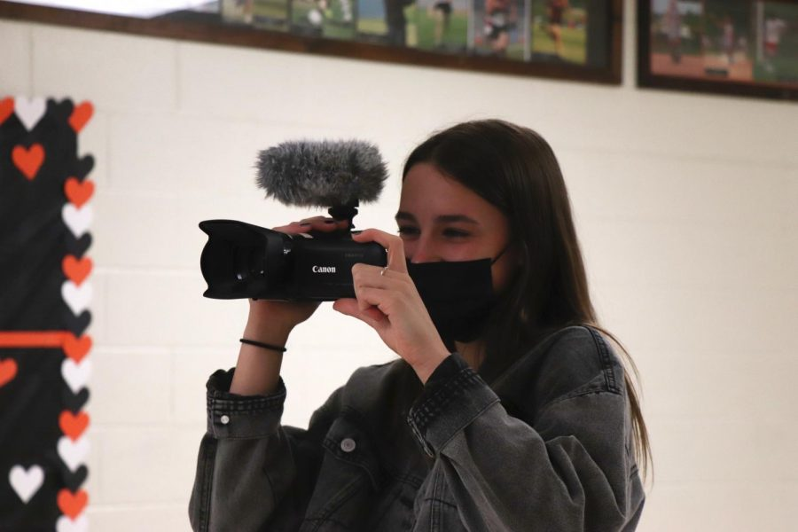 During video productions, sophomore Lilia Philstrom practices recording events around the school. On Apr. 20, Lilia was accompanied by classmate Lauren Caldwell.