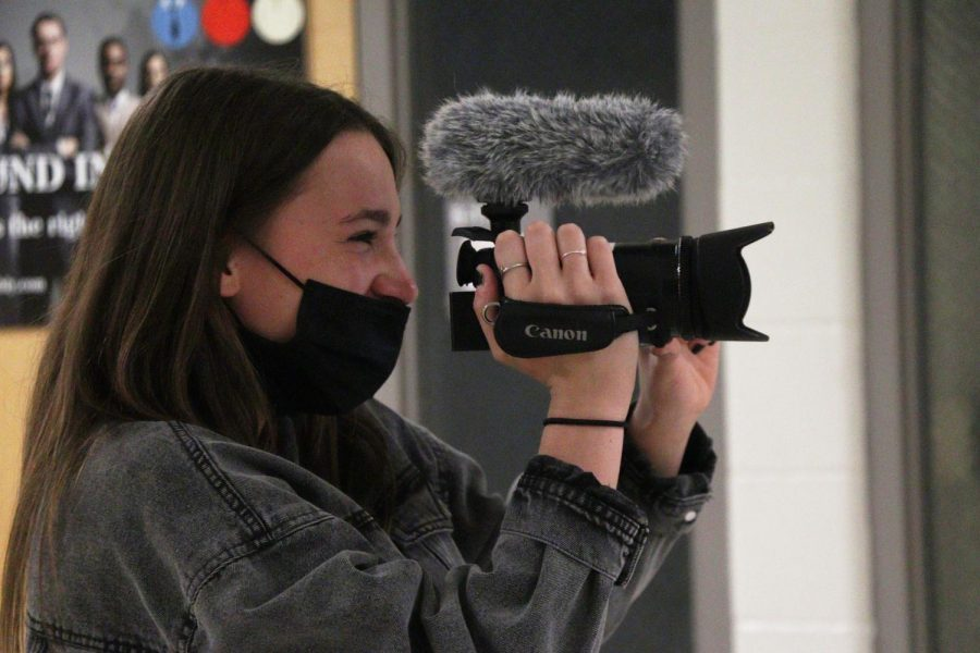 On Apr. 20 during video productions, sophomore Lilia Philstrom records sophomore Lauren Caldwell.