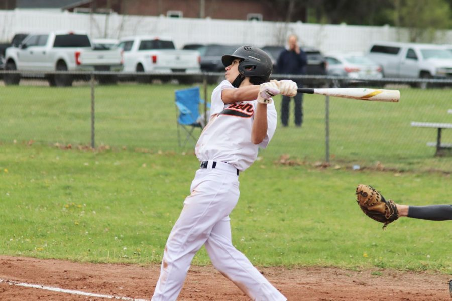 Freshman Noah Dotson strikes out at the plate against Clio on 5/4.