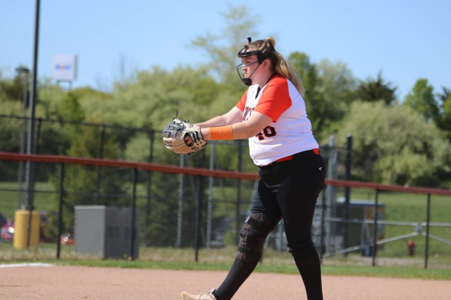 Sophomore Aubrey Starkel prepares to strike out Flushings batters on 5/13.