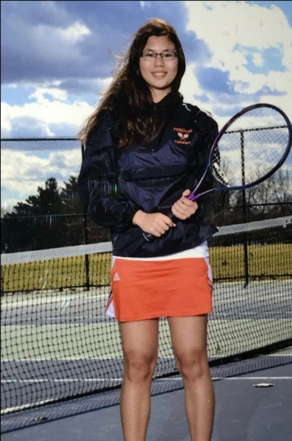 """""""I have been playing tennis since freshman year. I enjoy the sport so much because I like being outside and exercising. It feels really good to improve my skills every year and I take private lessons during the off season. I also like tennis because the girls of the team are fun to be around. It is not just about winning, it is also about teamwork and having fun."""" -senior Mary Borg"""