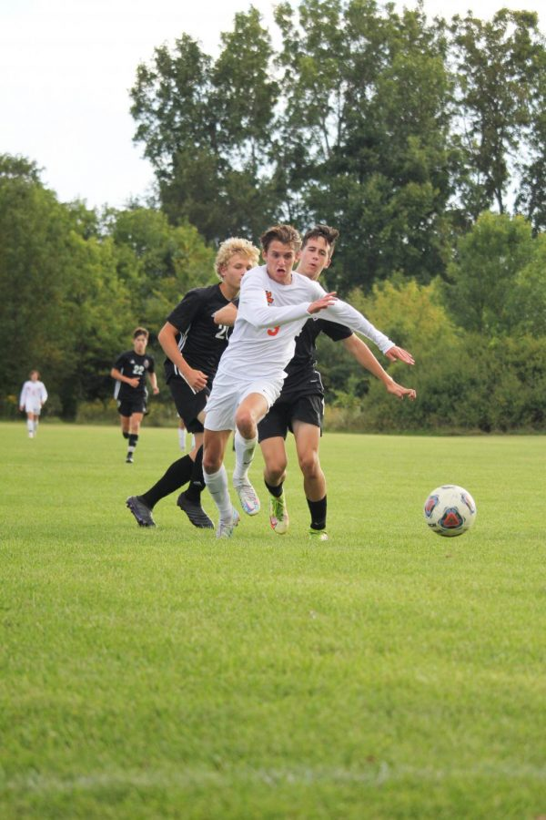 Senior Ben Chapple charges to the goal. On Sept. 9, Fenton tied Grand Blanc 1-1 in a tough battle.