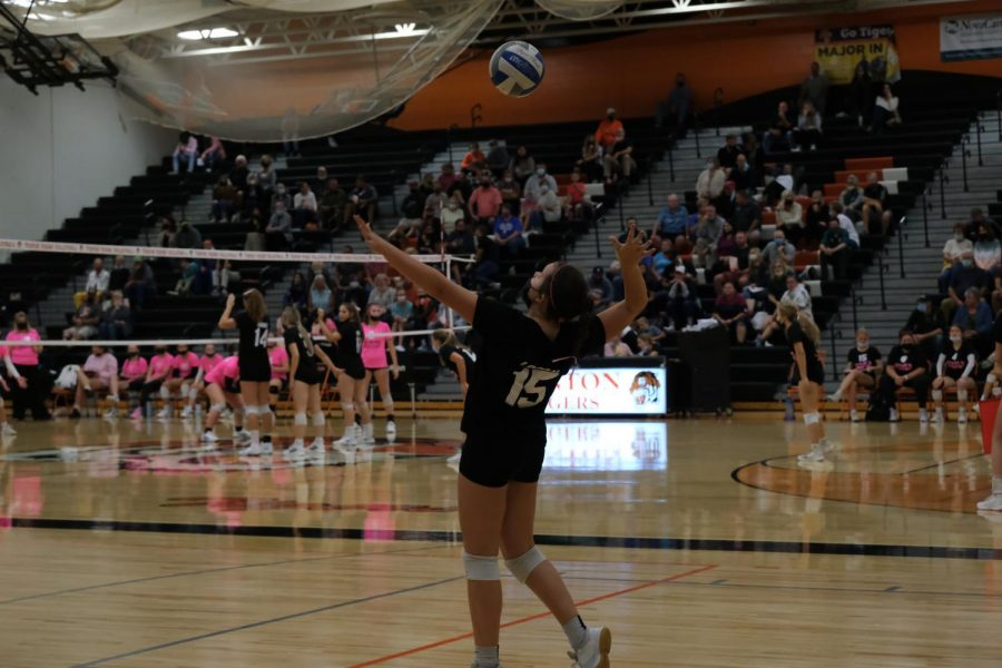 Anna Logan serving to the opposing team Flushing freshman.  On Oct.6 the freshman volleyball team took another win for the Fenton tigers.